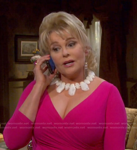 Bonnie's pink ruffle surplice dress on Days of our Lives