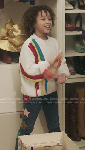 Bridget's rainbow braid sweater on Kenan