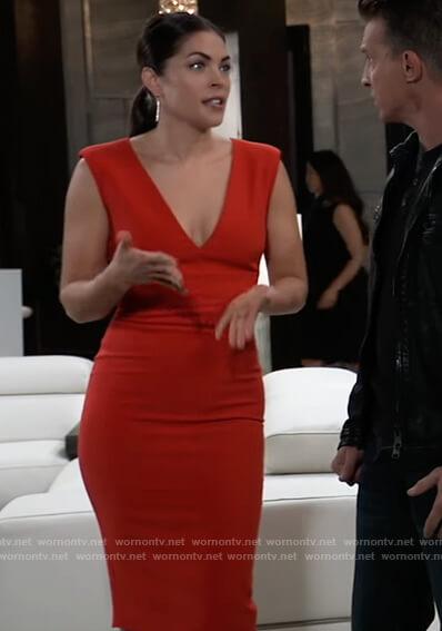 Britt's red v-neck sleeveless dress on General Hospital