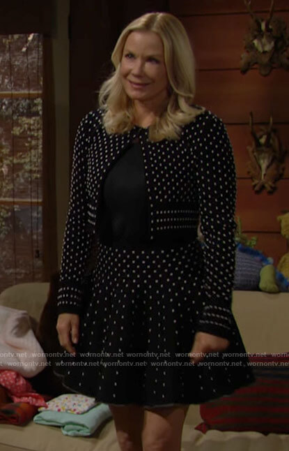 Brooke's polka dot cardigan and skirt set on The Bold and the Beautiful