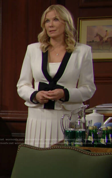 Brooke's white bow jacket and pleated skirt on The Bold and the Beautiful