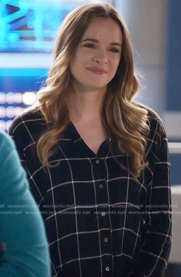 Caitlin's black checked button down shirt on The Flash