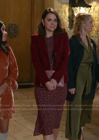 Callie's red polka dot dress and blazer on Good Trouble