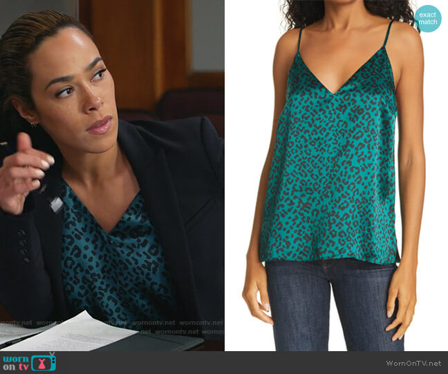 The Olivia Emerald Leopard Print Silk Camisole by Cami NYC worn by Emily Lopez (Jessica Camacho) on All Rise