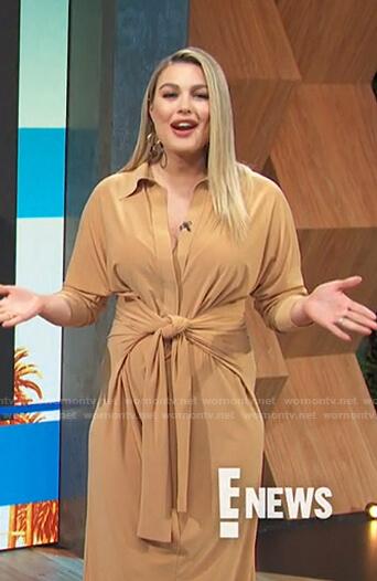Carissa's beige tie waist shirtdress on E! News Daily Pop