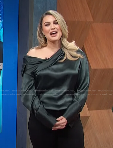 Carissa's green one off shoulder top on E! News Daily Pop
