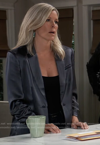 Carly's blue satin blazer on General Hospital