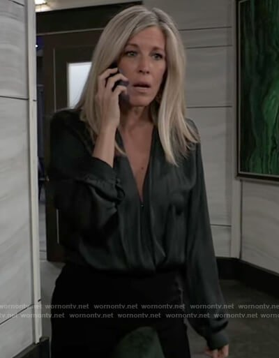Carly's green satin surplice blouse on General Hospital