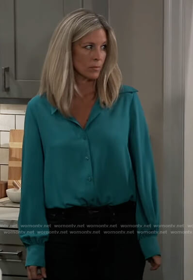 Carly's teal puff sleeve blouse on General Hospital