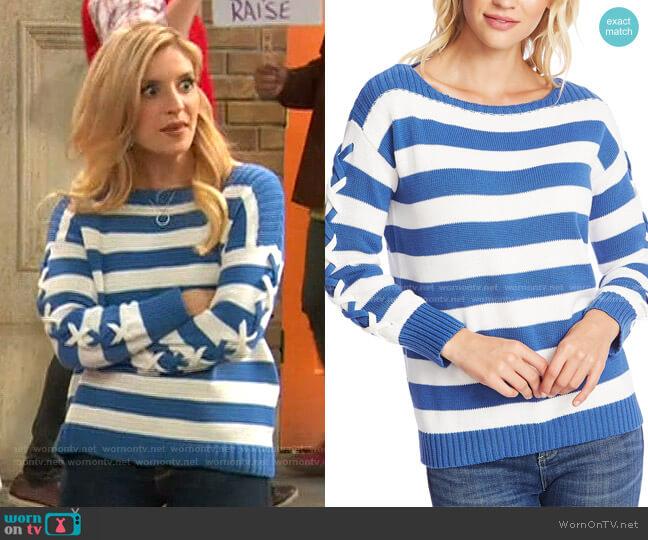 Striped Boat-Neck Sweater by Cece worn by Chelsea Grayson (Anneliese van der Pol) on Ravens Home