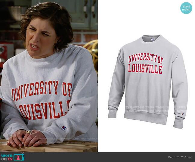 Champion University of Louisville Reverse Weave Crewneck Sweatshirt worn by Kat Silver (Mayim Bialik) on Call Me Kat