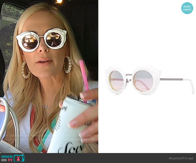 Round Camellia Sunglasses by Chanel worn by Kameron Westcott  on The Real Housewives of Dallas