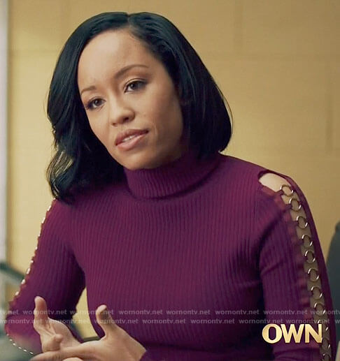 Charley's purple ring detail sweater on Queen Sugar