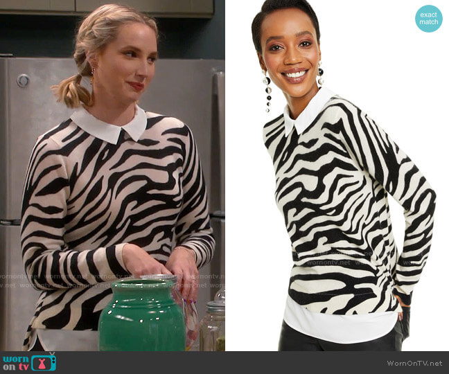 Charter Club Cashmere Zebra-Print Layered-Look Sweater worn by Mandy Baxter (Molly McCook) on Last Man Standing