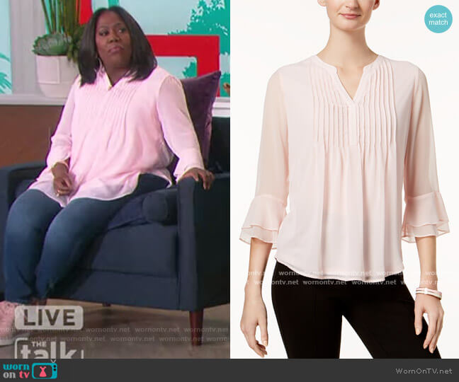 Petite Double Ruffle Solid Pintuck Top by Charter Club worn by Sheryl Underwood  on The Talk
