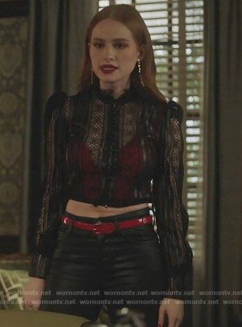 Chelsea's black lace top with leather trim on Riverdale