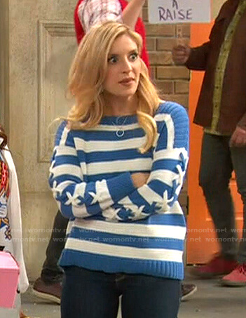 Chelsea's blue and white striped sweater on Ravens Home