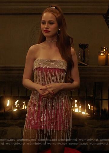 Cheryl's pink strapless embellished dress on Riverdale
