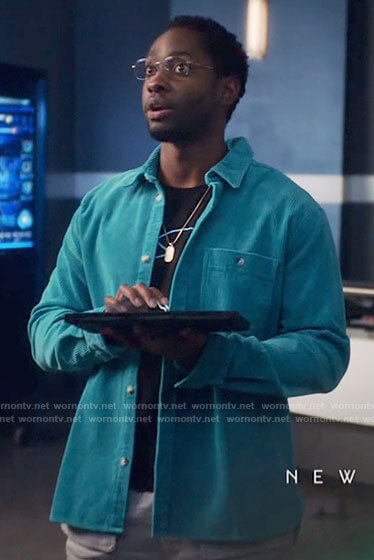 Chester's turquoise corduroy shirt on The Flash