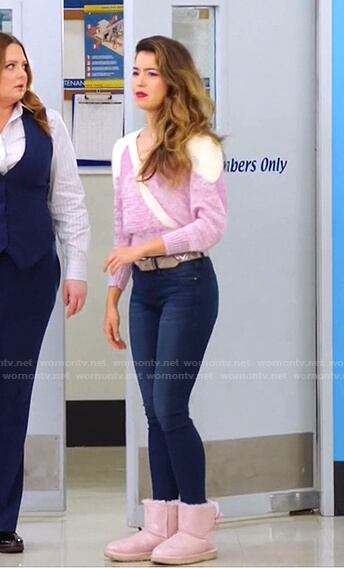 Cheyenne's pink surplice sweater and metallic boots with bow on Superstore