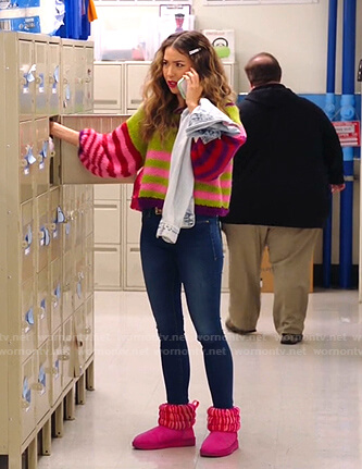 Cheyenne's striped balloon sleeve knit sweater on Superstore
