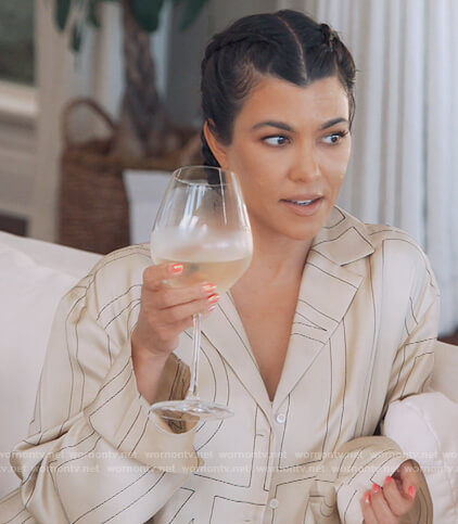Kourtney's beige embroidered top and pants on Keeping Up with the Kardashians