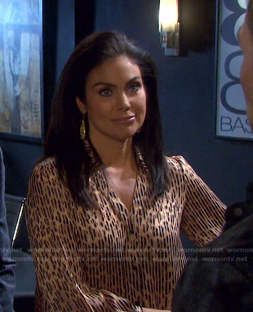 Chloe's beige striped leopard blouse on Days of our Lives