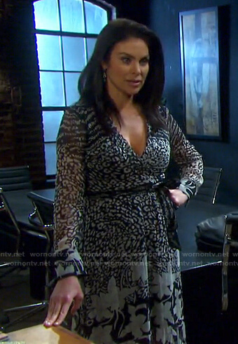 Chloe's black animal print wrap dress on Days of our Lives