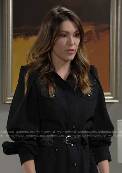 Chloe's black puff sleeve shirtdress on The Young and the Restless