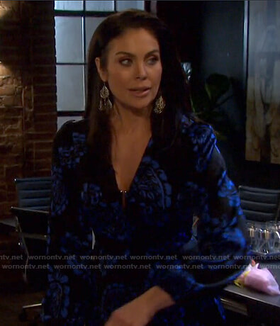 Chloe's black and blue paisley dress on Days of our Lives