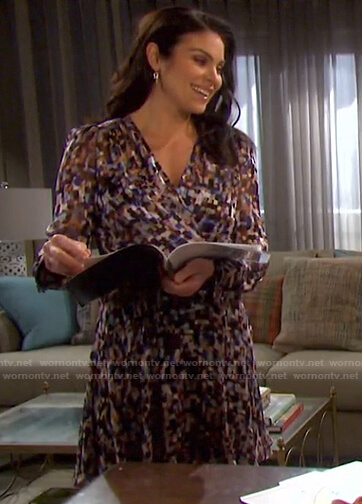 Chloe's printed wrap dress on Days of our Lives