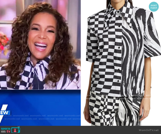 Padded Shoulder Short-Sleeve Shirt by Christopher John Rogers worn by Sunny Hostin  on The View
