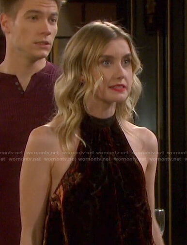 Claire's velvet halter neck top on Days of our Lives