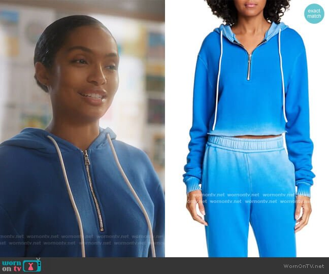 Brooklyn Half Zip Crop Hoodie by Cotton Citizen worn by Zoey Johnson (Yara Shahidi) on Grown-ish
