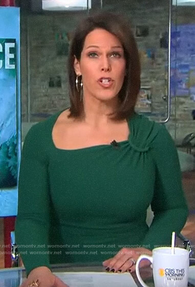 Dana Jacobson's green asymmetrical dress on CBS This Morning Saturday