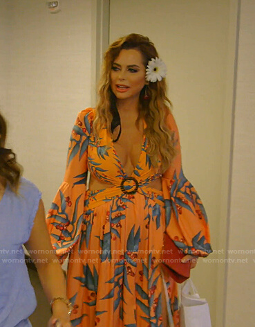 D'Andra's orange printed cutout maxi dress on The Real Housewives of Dallas