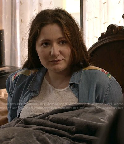 Debbie's embroidered-shoulder chambray shirt on Shameless