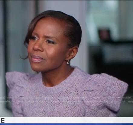Deborah's lilac puff sleeve pointelle sweater on Good Morning America