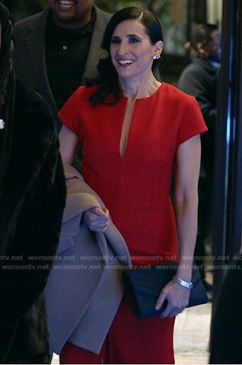 Delia's red v-neck cap sleeve midi dress on The Unicorn