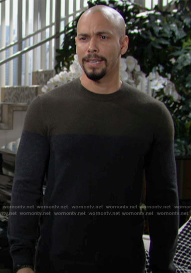 Devon's colorblock sweater on The Young and the Restless