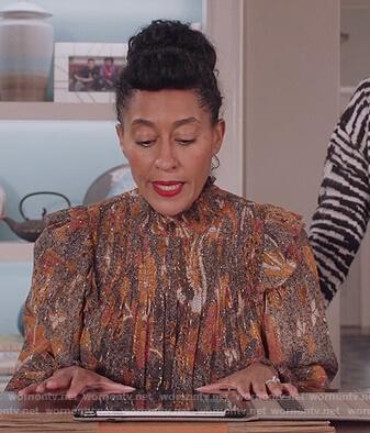 Rainbow's metallic paisley blouse on Black-ish