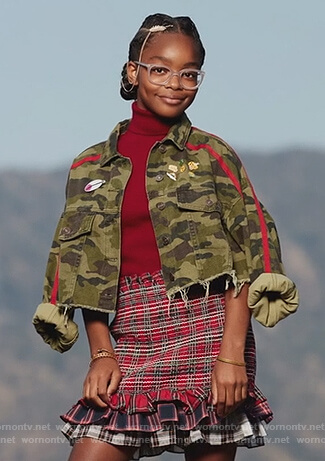 Diane's camo jacket and red ruffled skirt on Black-ish