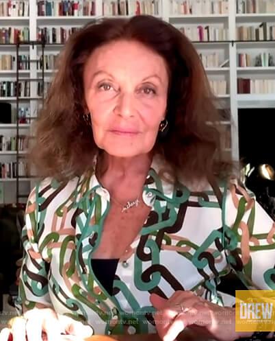 Diane von Furstenberg's chain print blouse on The Drew Barrymore Show