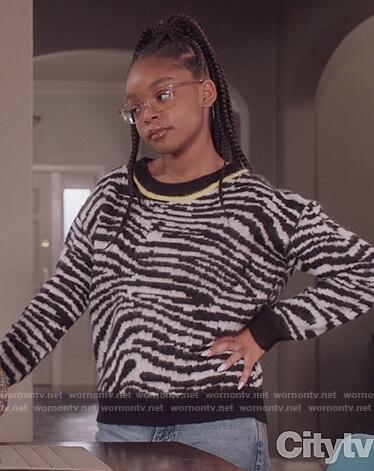 Diane's zebra print sweater on Black-ish