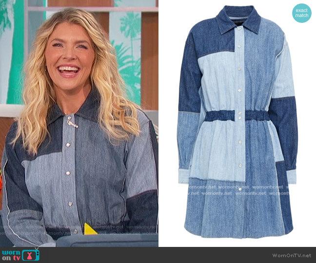 Patchwork denim mini shirt dress by dolce and gabbana worn by Amanda Kloots  on The Talk