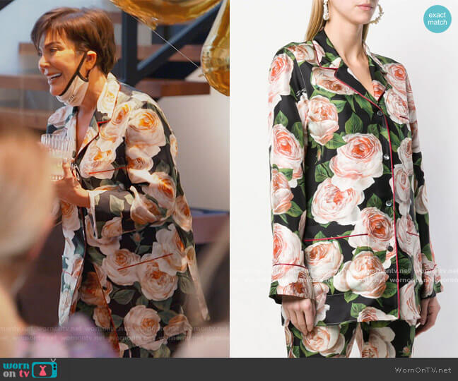 Rose Print Blouse by Dolce and Gabbana worn by Kris Jenner  on Keeping Up with the Kardashians