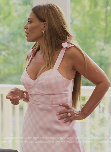 Dolores's pink gingham check dress on The Real Housewives of New Jersey