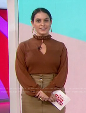 Donna's brown ruffle neck keyhole top on Today