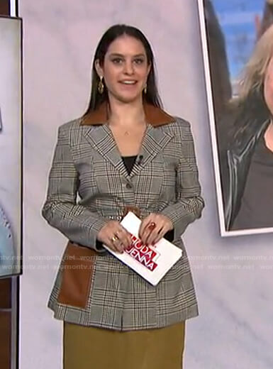 Donna Farizan's grey plaid belted blazer on Today