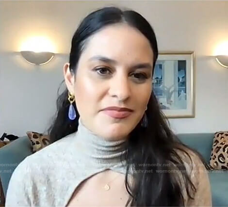 Donna Farizan's beige cutout turtleneck sweater on Today